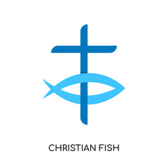 christian fish logo isolated on white background , colorful vector icon, brand sign & symbol for your business