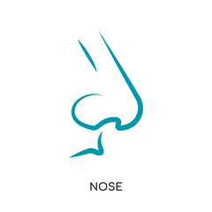 nose logo vector icon isolated on white background, colorful brand sign & symbol for your business