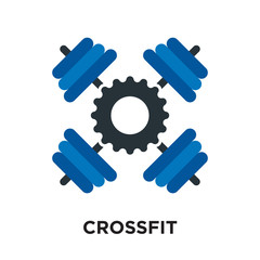 logo crossfit isolated on white background , colorful vector icon, brand sign & symbol for your business