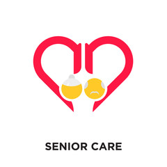 senior care logo isolated on white background , colorful vector icon, brand sign & symbol for your business