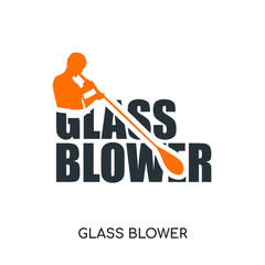 glass blower logo isolated on white background , colorful vector icon, brand sign & symbol for your business