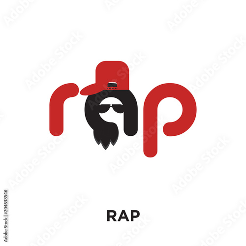 rap logo isolated on white background colorful vector icon brand
