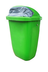 Plastic green public trash can or rubbish bin isolated on white, clipping path