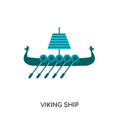 viking ship logo isolated on white background , colorful vector icon, brand sign & symbol for your business