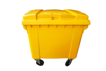 Public yellow trash can, recycle or rubbish bin isolated on white, clipping path