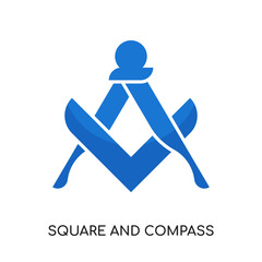 square and compass logo isolated on white background , colorful vector icon, brand sign & symbol for your business