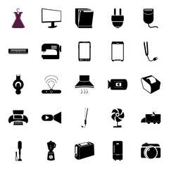 icons about Electronic with sign, salon, women, kitchen and cash