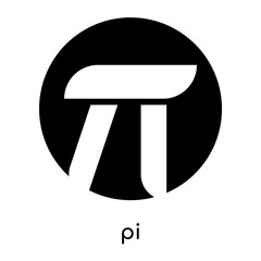 pi symbol images isolated on white background , black vector sign and symbols