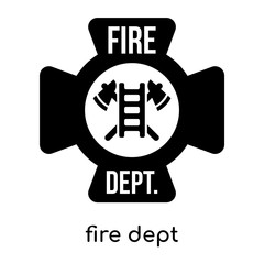 fire dept symbol isolated on white background , black vector sign and symbols
