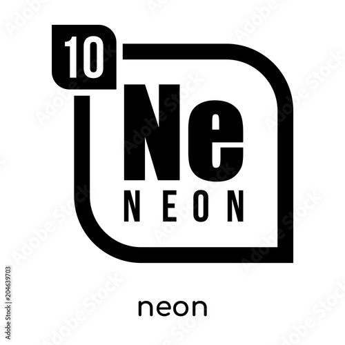 Neon Symbol Periodic Table Isolated On White Background Black