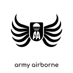 army airborne symbol isolated on white background , black vector sign and symbols
