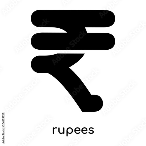 Rupees Symbol Clipart Isolated On White Background Black Vector