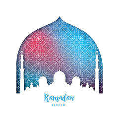 Ramadan Kareem beautiful greeting card. Mosque silhouette in paper style. Vector illustration.