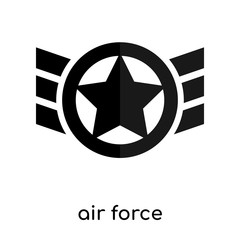 air force symbol old isolated on white background , black vector sign and symbols
