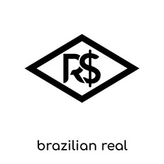 brazilian real symbol isolated on white background , black vector sign and symbols