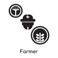 Farmer isolated on white background , black filled vector sign and symbols