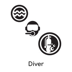 Diver isolated on white background , black filled vector sign and symbols
