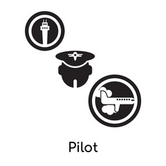 Pilot isolated on white background , black filled vector sign and symbols