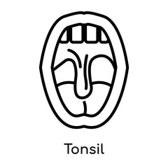 Tonsil icon isolated on white background , black outline sign, linear modern symbol