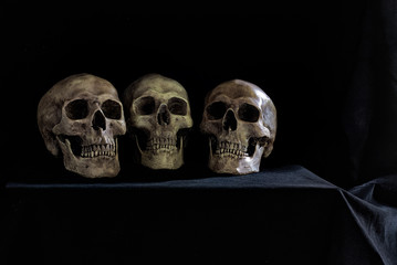 Old Three skulls put on the table which has black cloth cover in dim light room