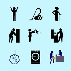 icons about Human with healthcare, reception, lady, muslim and kitchen