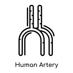 Human Artery icon isolated on white background , black outline sign, linear modern symbol