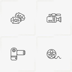 Cinema line icon set with video camera, video film roll and cinema tickets