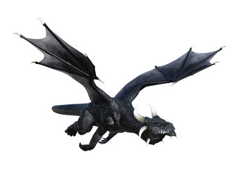 3D Rendering Fantasy Black Dragon on White