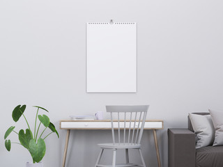 Calendar mockup in modern interior with a console and a chair, 3D render