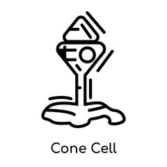 Cone Cell icon isolated on white background , black outline sign, linear modern symbol