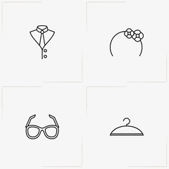 Fashion line icon set with shirt, hair band  and spectacles