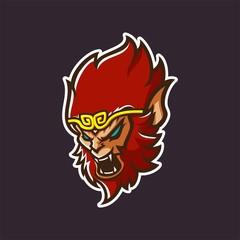 monkey king esport gaming mascot logo template