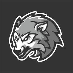 grey wolf esport gaming mascot logo template