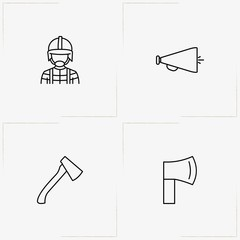 Firefighter line icon set with loudspeaker, firefighter and hatchet