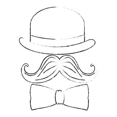 hat with mustache and bowtie vector illustration design