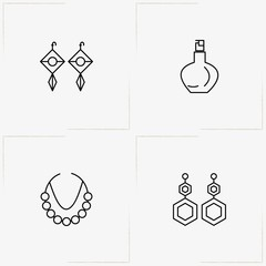 Beauty line icon set with earrings, necklace and perfume