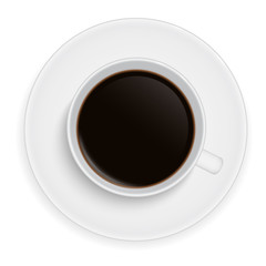 Realistic illustration of a white porcelain cup of coffee - vector