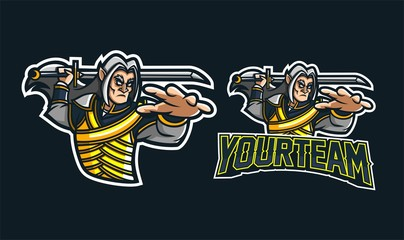 elves knight esport gaming mascot logo template