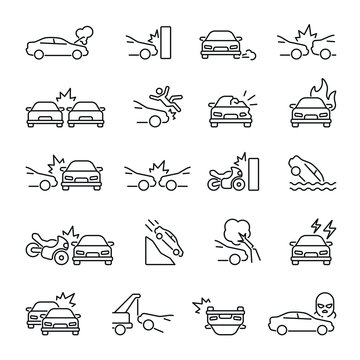 Car Accident related icons: thin vector icon set, black and white kit