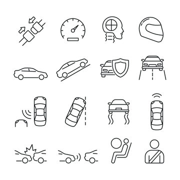 Car safety related icons: thin vector icon set, black and white kit