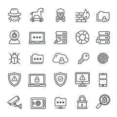 Data Security related icons: thin vector icon set, black and white kit