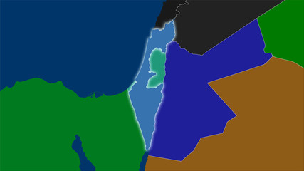 Israel, administrative divisions - light glow