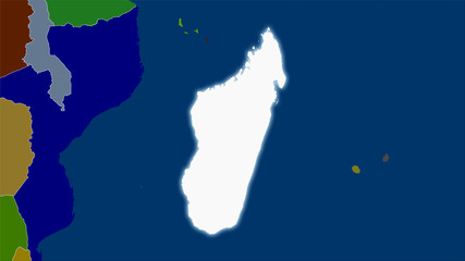 Madagascar, administrative divisions - light glow