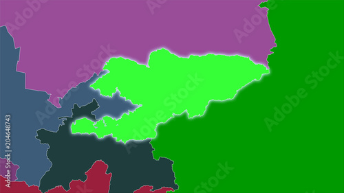 Kyrgyzstan, administrative divisions - light glow\