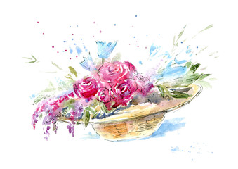 Roses in a straw hat.Summer bouquet.Watercolor hand drawn illustration.White background.