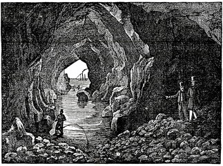 Portcoon Cave in Northern Ireland (from Das Heller-Magazin, August 23, 1834)