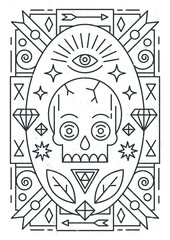 Linear abstract vector illustration with skull and ornaments