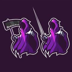 set of grim reaper holding scythe and sword esport gaming mascot logo template