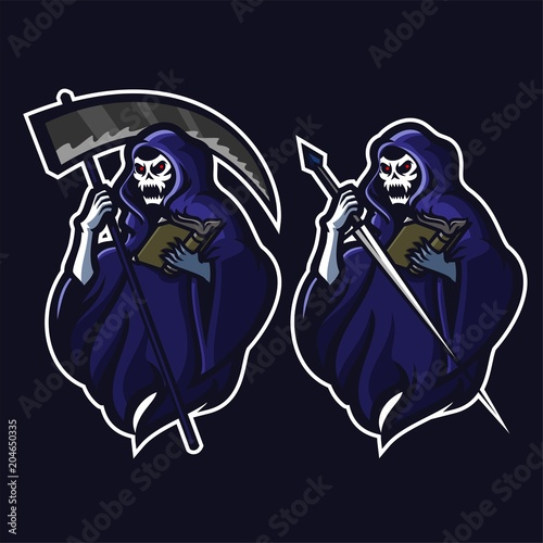 grim reaper holding scythe sword and book esport gaming mascot logo