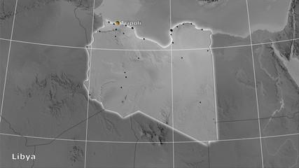 Libya, grayscale elevation - composition
